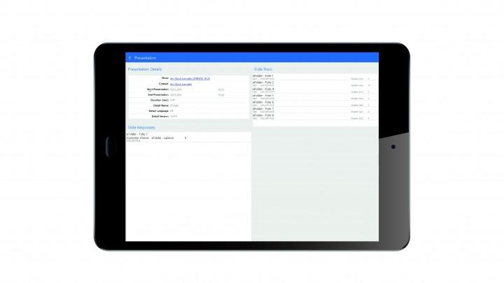 Automatische Datenerfassung: Die Anzeigedauer einzelner Praesentationsfolien und weitere Daten werden automatisch dem jeweiligen CRM-Kontakt zugeordnet.