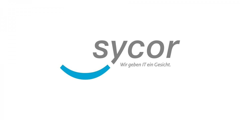 """Sycor Logo, deutsch, mit Claim """"Wir geben IT ein Gesicht"""""""