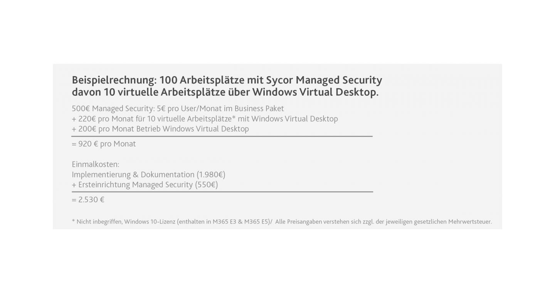 Beispielrechnung Sycor.Managed Security