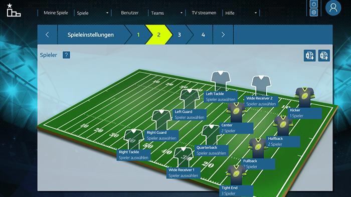 Anlegen eines neuen Spiels aus Sicht eines Spielleiters   – Auswahl der Spieler für die verschiedenen Positionen des Spielfelds