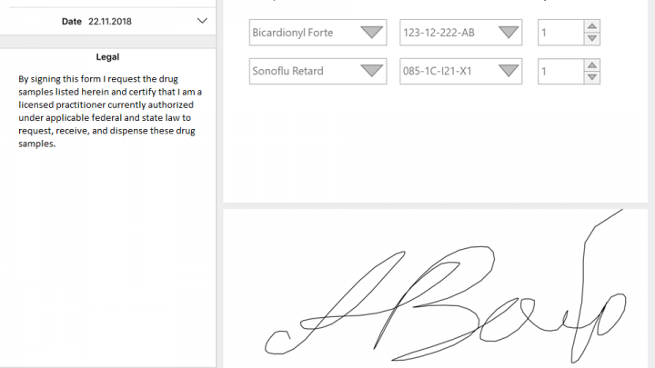 Musteranforderung mit elektronischer Unterschrift