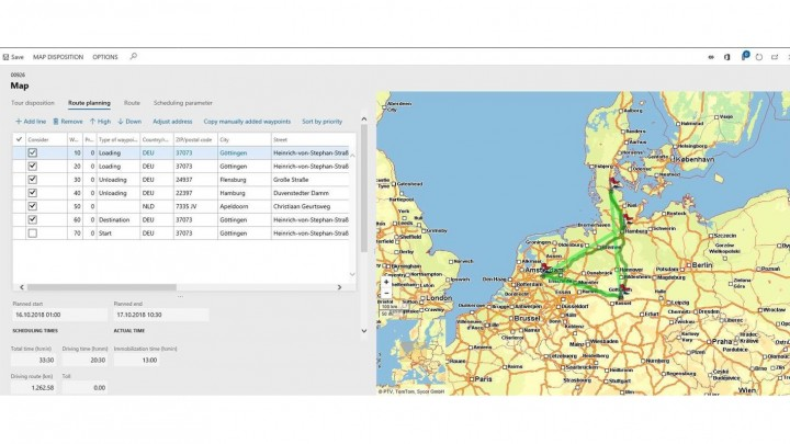Screenshot of transportation management functions of the equipment rental software solution
