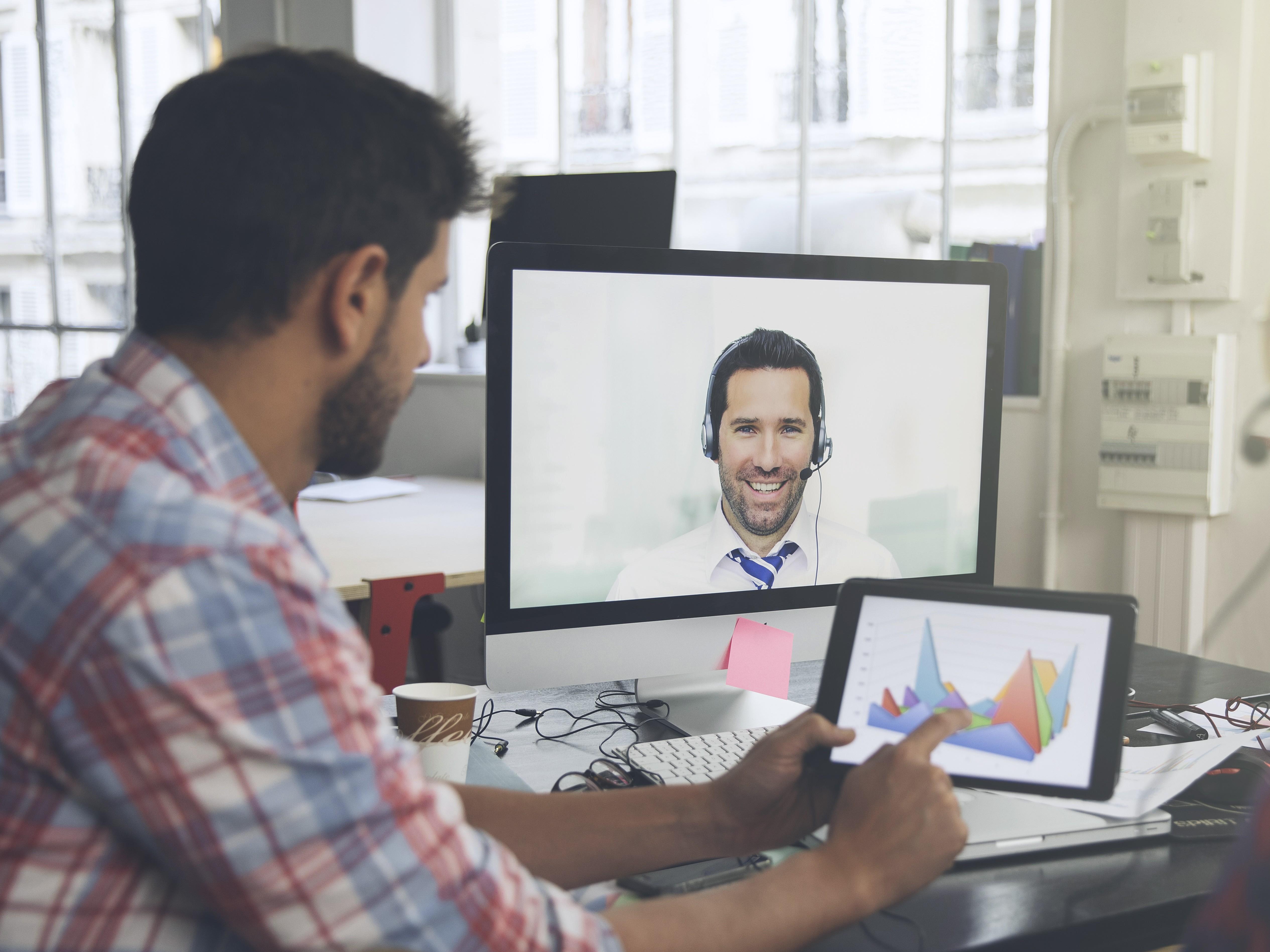 Businessman using modern corporate communication
