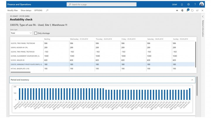 Screenshot of software function to check rental equipment availability