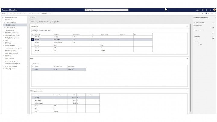 Screenshot of software function to make more accurate rental equipment selections